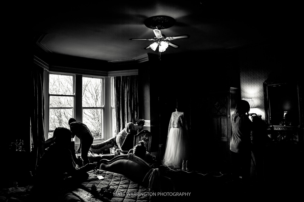 Prep Room with wedding dress